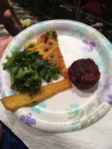 Polenta fries, only kale can save us now salad, savory chickpea pancake and roasted beet burger.