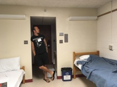 Johnny and our 5-star dorm room.