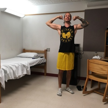 Feeling pumped after making the bed.